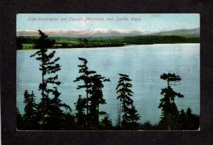 WA Lake Washington and Cascade Mtns Mountains Near Seattle Postcard Vintage