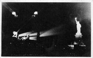 G45/ New York City RPPC Postcard  c1920s Statue of Liberty Night Art Lights