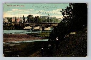 Carlisle, UK-United Kingdom, From River Eden, Bridge, Vintage c1913 Postcard
