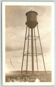 Bowbells North Dakota~Water Tank~Tower Close Up~1912 Real Photo Postcard~RPPC