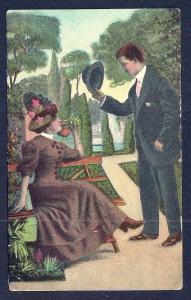 Courting Couple in the Park used c1908