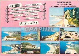 Modern Postcard Normandy coastal road cliffs Criel sur Mer Quiberville Dieppe...