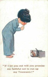 Comic mouse promise humour girl caricature 1916 postcard