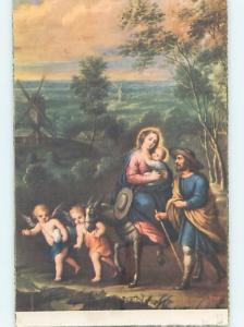 Pre-Linen foreign religious ANGELS GUIDE MARY AND BABY JESUS TO EGYPT HL9632