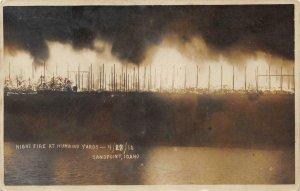 RPPC Night Fire Humbird Yards SANDPOINT Idaho Lumber 1910 Vintage Photo Postcard