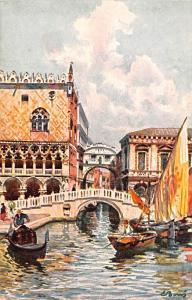 Italy Old Vintage Antique Post Card Ponte della Paglia e Sospiri Venezia Unused