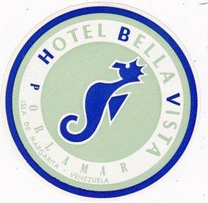 Venezuela Porlamar Hotel Bella Vista Vintage Luggage Label sk2051