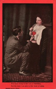 Vintage Postcard 1910's I've Been Trying to Find You a Valentine Man with Woman