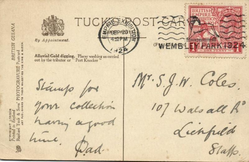 british guiana, Alluvial Gold Digging, Placer Washing, Port Knocker (1924) Stamp