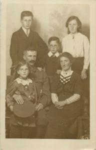 Military family portrait photo postcard