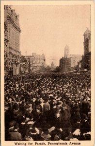 Vtg 1910 Crowd Waiting For Parade Pennsylvania Avenue Taft Inauguration Postcard
