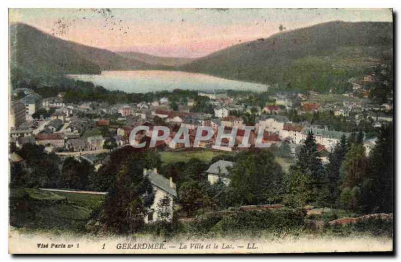 Cpa gerardmer la ville et le lac hippostcard for Piscine a gerardmer