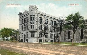 c1910 Chromograph Postcard Street View State Penitentiary Lincoln NE Lancaster