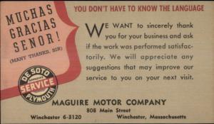Winchester MA MaGuire Motor Co De Soto Plymouth Auto Car Serivce Postal Card