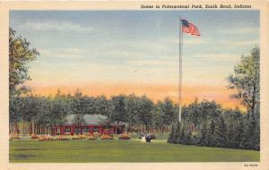 South Bend Indiana~Pottawatomi Park Scene~Cannon by Flag~1939 Postcard