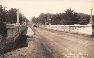 Stewartville Minnesota~Highway 63 Bridge~Vintage Car~Gravel Road~1922 RPPC