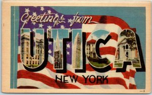 UTICA New York Large Letter Postcard American Flag Background Dexter Linen 1940s