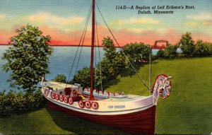 Minnesota Duluth Replica Of Leif Erikson's Boat Curteich
