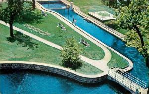 Huntsville Alabama~The Big Spring Birdseye View~Benches~1958 Postcard