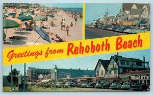 Postcard DE Rehoboth Beach Delaware Multiview Banner Greetings c1950s X5