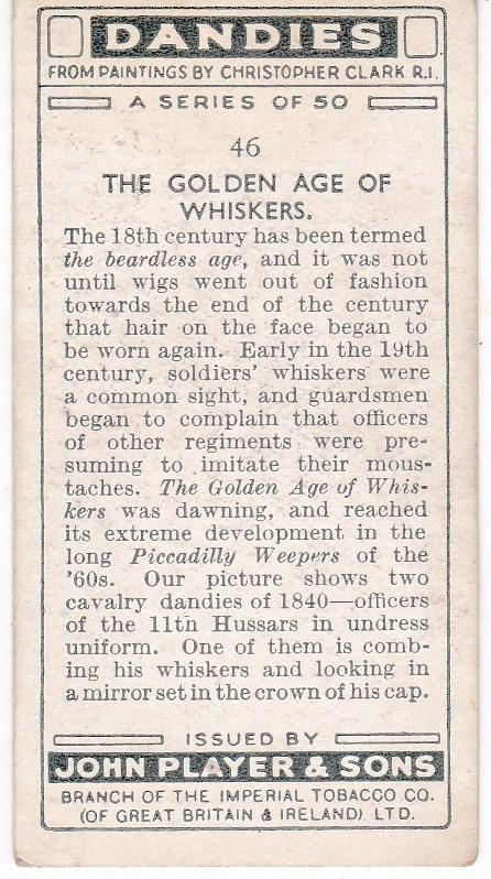 Cigarette Card Player's Dandies No 46 Officers 11th Hussars