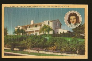 Home of Jane Withers Westwood Village Los Angeles California Linen Postcard