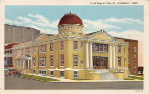 B54/ McAlester Oklahoma Ok Postcard c1940s First Baptist Church Building