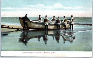 Atlantic City, New Jersey Postcard Launching the Life Boat Beach Scene 1909
