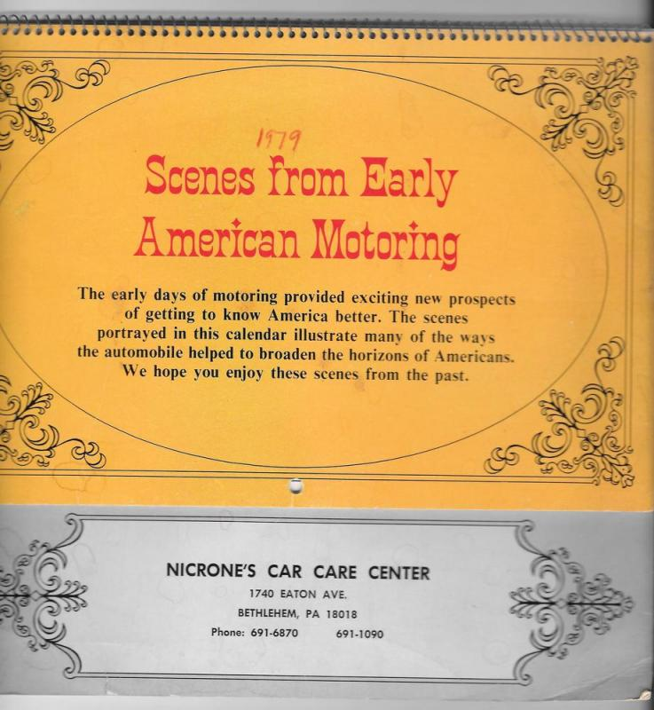 Bethlehem PA Nicrones Car Care Center 1979 Calendar American
