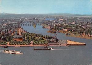 GG11745 Koblenz am Rhein Deutsches Eck Schiff Boats Bridges Panorama Ponts