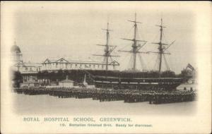 Greenwich UK Royal Hospital School Troops & Ship c1910 Postcard