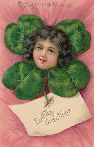 BIRTHDAY Greetings, PU-1909; Dark haired girl inside shamrock
