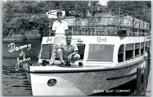 Wisconsin Dells Real Photo RPPC Postcard OLSON BOAT COMPANY Tour Boat c1950s