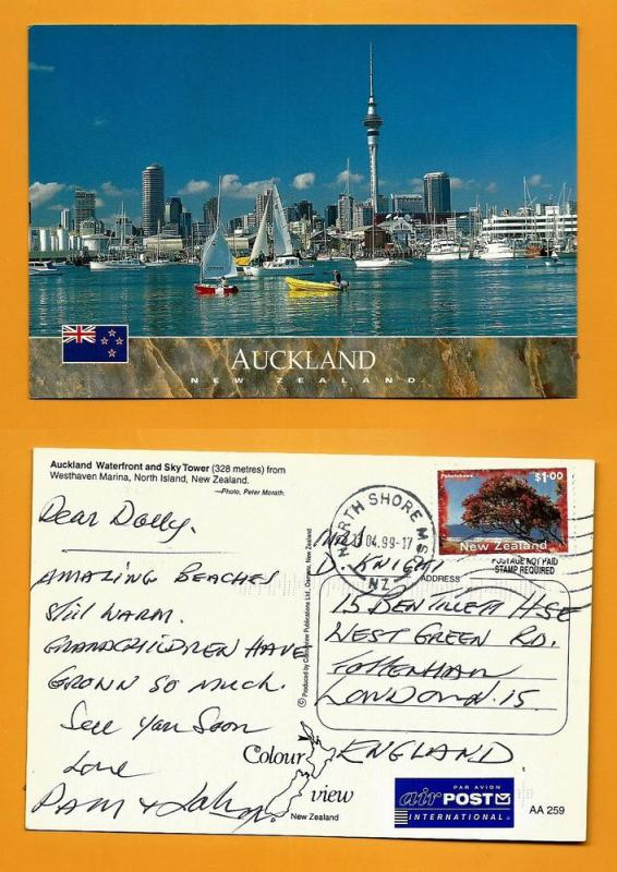 NEW ZEALAND POSTCARD-STAMP-AUCKLAND WATERFRONT-SKY TOWER