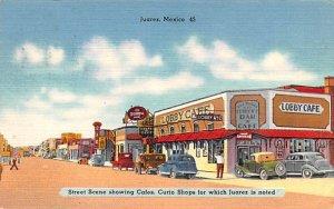 Street scene showing caf»s Juarez Mexico Tarjeta Postal 1917