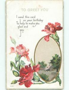 Pre-Linen COUNTRY SCENE IN CIRCLE PLUS PINK AND RED FLOWERS k4260