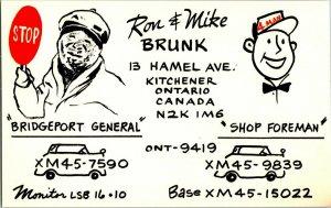 QSL Radio Card From Kitchener Ontario Canada XM45-15022
