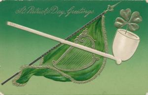 St Patrick's Day Greetings - Pipe with Shamrock - Harp on flag - pm 1909 - DB