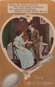 Romantic Couple, Poem, Two Table Spoons, PU-1909