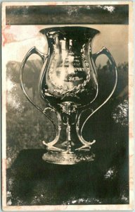 1910 WILLIAMSPORT, Indiana RPPC Real Photo Postcard Cup / Trophy Close-Up View