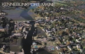 Maine Greetings From Kennebunkport Aerial View With Kennebunk River At Low Tide