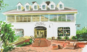 Odyssey Bookstore South Hadley Massachusetts Book Shop Oil Painting Postcard