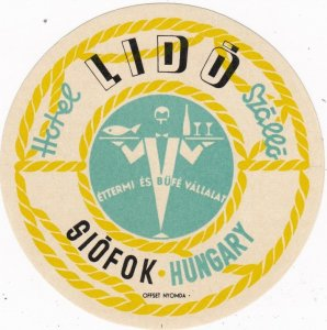 Hungary Siofok Hotel Lido Szallo Vintage Luggage Label lbl0314