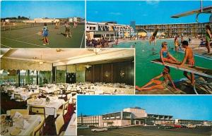 Lancaster Pennsylvania~Host of Lancaster~Tennis~Bathing Beauties~1960 Postcard