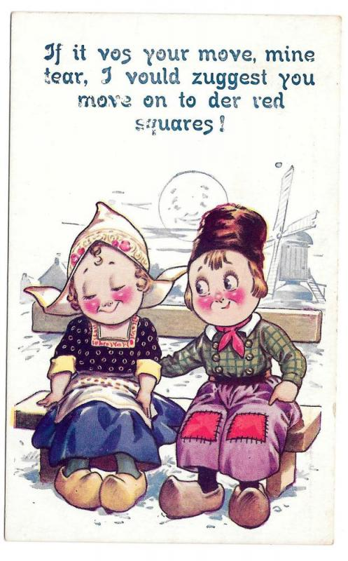Dutch Kids Boy Girl If it vos your move mine dear Postcard