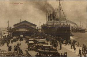 Yokohama Japan Steamship at Busy Dock Old Cars c1920 Postcard