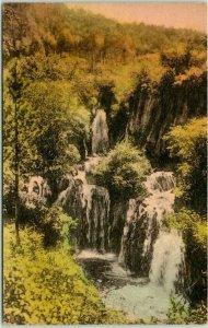 SAVOY, South Dakota Hand-Colored Postcard Rough Look Falls near Latchstring Inn