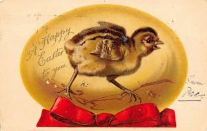 Ernest Nister Easter~Chick Scratches Across Big Yellow Egg~Red Ribbon~1906 PC