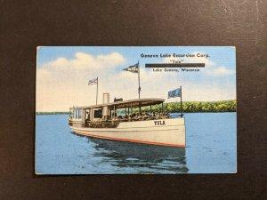 Mint Vintage Geneva Lake Excursion Corp Tula Boat Wisconsin Picture Postcard