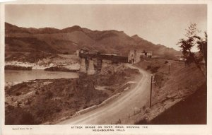 Lot142 real photo bridge on river indus showing the neighbouring hills pakistan